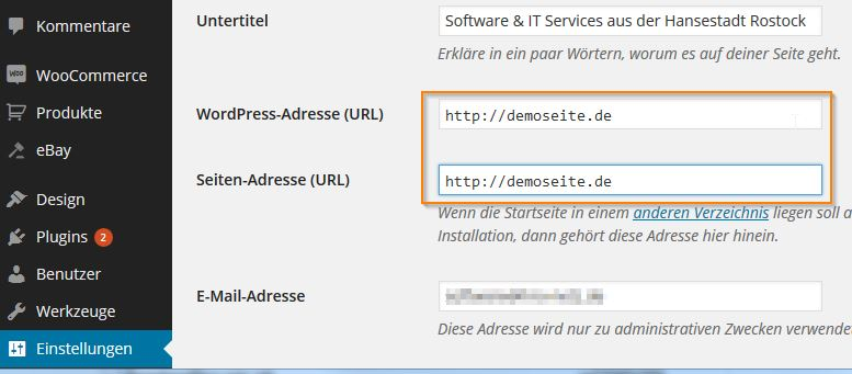 wordpress_Adresse_url_einstellungen