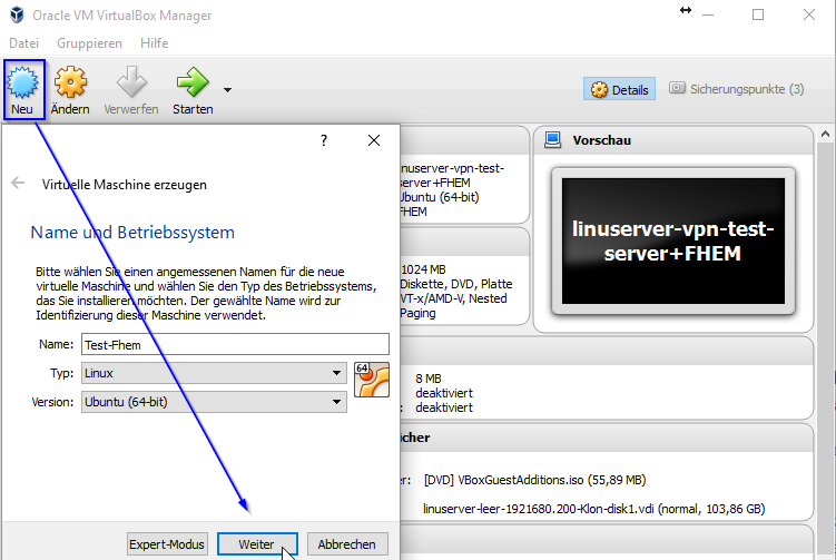 fhem-neue_vm_Oracle VM VirtualBox Manager
