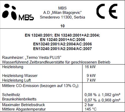 Heizung Projekt MBS Thermo Typenschild