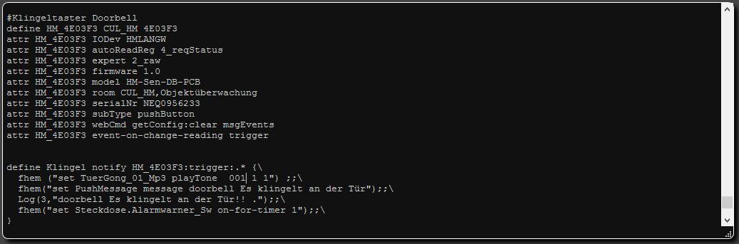 HM-Sen-Db-Pcb fhem konfigurationsbeispiel mit notify event